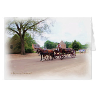 Colonial Carriage Ride Greeting Cards