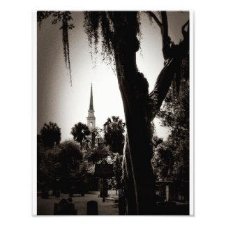 Colonial Cemetery, Savannah (Black And White) Photo Print