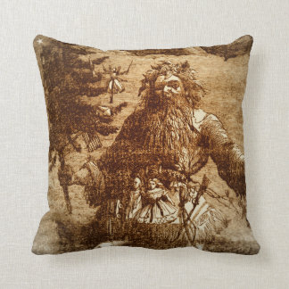 Colonial Christmas Santa Claus Brown Toile Style Throw Pillow