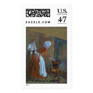 Colonial Cooking Postage Stamp