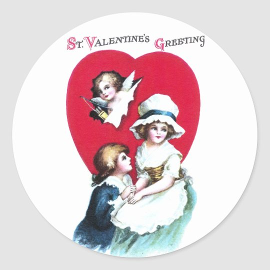 Colonial Couple and Cupid Vintage Valentine Classic Round Sticker