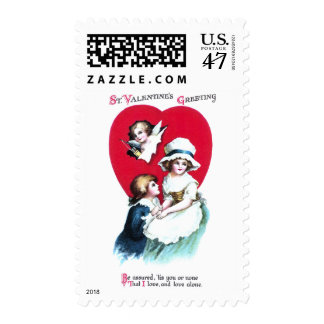 Colonial Couple and Cupid Vintage Valentine Postage Stamp