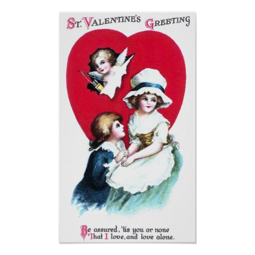 Colonial Couple and Cupid Vintage Valentine Poster