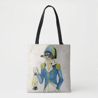 Colonial Dressed Bird Watercolor, Holding Lantern Tote Bag