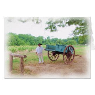 Colonial Farmer and Wagon Card