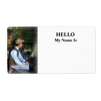 Colonial Man in Kitchen Label