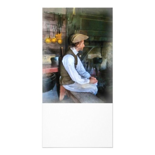 Colonial Man in Kitchen Picture Card