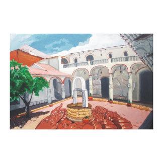 Colonial patio canvas print