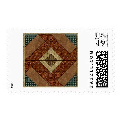 Colonial Pavement in Dark Green & Rust Postage Stamps