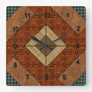Colonial Pavement in Dk. Green and Rust Brown Square Wall Clock