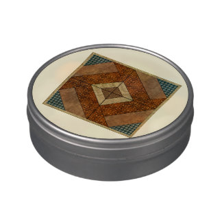 Colonial Pavement Quilt Block Dk Green & Rust Jelly Belly Tins