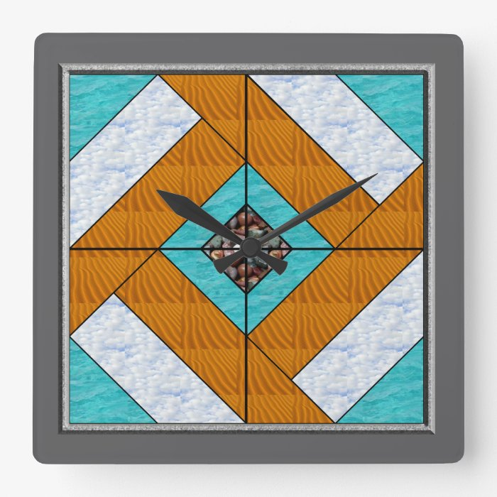 Colonial Pavement Quilt Block Nature no numbers Square Wall Clock