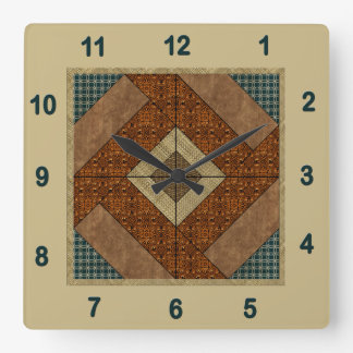 Colonial Pavement Quilt Block Rust & Dark Green Square Wall Clock