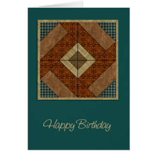 Colonial Pavement Quilt Square in Rust &  Green Greeting Cards