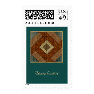 Colonial Pavement Square in Rust & Dk Green Stamp
