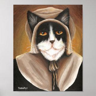 Colonial Pilgrim Cat Wearing Puritan Dress and Cap Poster