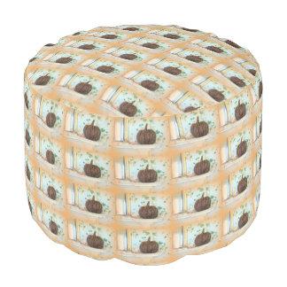 colonial pumpkin basket round pouf