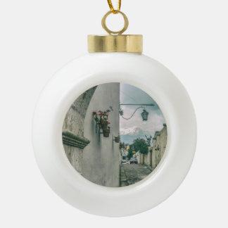 Colonial Street of Arequipa City Peru Ceramic Ball Christmas Ornament