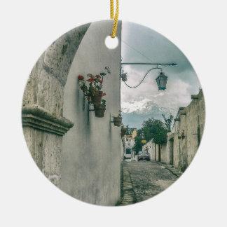 Colonial Street of Arequipa City Peru Ceramic Ornament