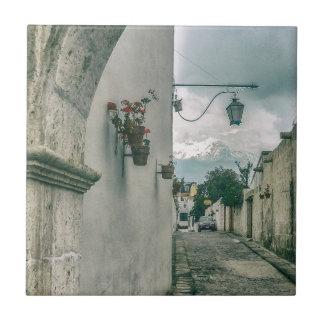 Colonial Street of Arequipa City Peru Ceramic Tile