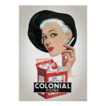 Colonial Vintage Advertising Poster Restored