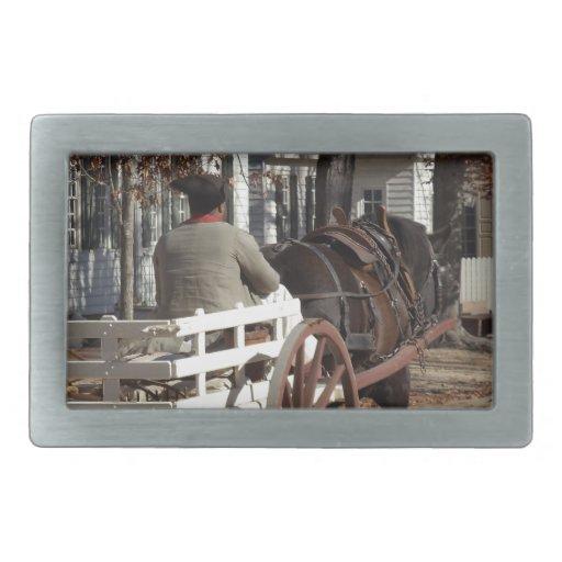 Colonial Williamsburg del hombre, del caballo y de Hebilla De Cinturón
