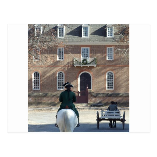 Colonial Williamsburg Man on Horse Postcard