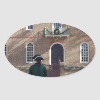 Colonial Williamsburg Man on Horse Oval Sticker