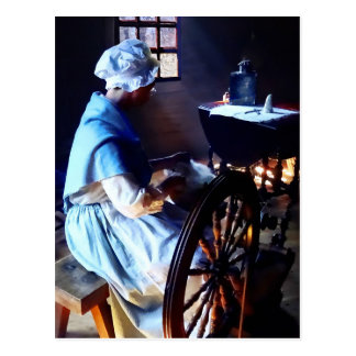 Colonial Woman Spinning Postcard