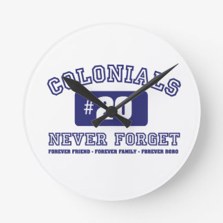 COLONIALS #20 NEVER FORGET ROUND CLOCK