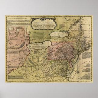 Colonias británicas en el mapa de América (1765) Póster