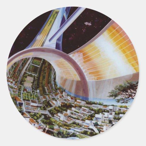 Colonias futuras retras del espacio de Sci Fi del Pegatina Redonda