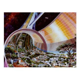 Colonias futuras retras del espacio de Sci Fi del Postal