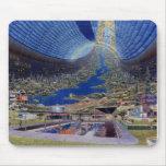Colonias futuras retras del espacio de Sci Fi del  Tapetes De Ratones