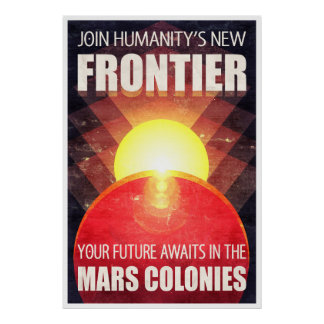 Colonization of Mars Retro Sci-Fi Illustration Poster