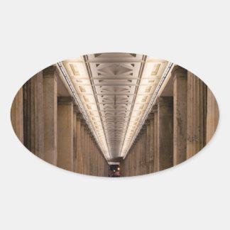 Colonnade Alte Nationalgalerie in Berlin Germany Oval Sticker
