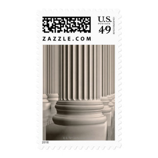 Colonnade of classic Ionic white marble columns Stamps