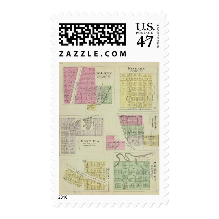 Colony, Kincade, Mont Ida, and Westphalia, Kansas Postage Stamp