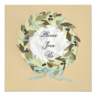 Colony Mediteranean Olive Wreath & Damask Casual - Card