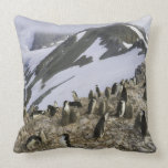 Colony of Chinstrap penguins Throw Pillow