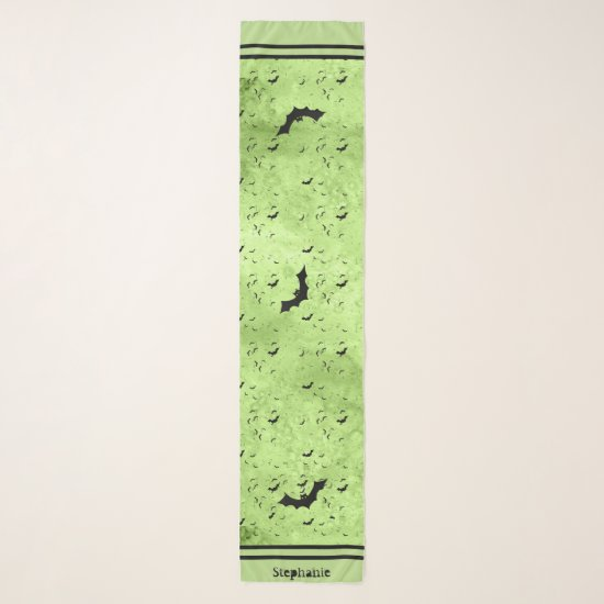 Colony of Halloween Bats Your Name - Green Grunge Scarf