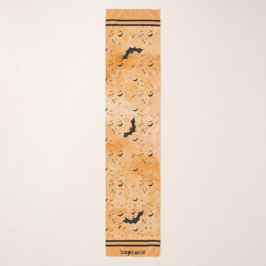 Colony of Halloween Bats Your Name - Orange Grunge Scarf