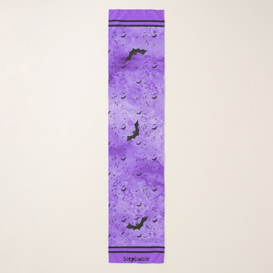 Colony of Halloween Bats Your Name - Purple Grunge Scarf