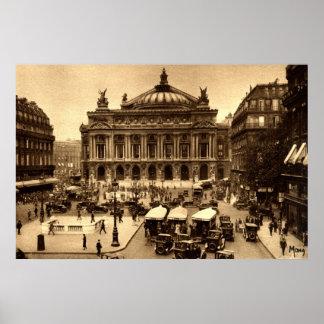 Coloque a de l'Opera, vintage de París Francia c19 Poster