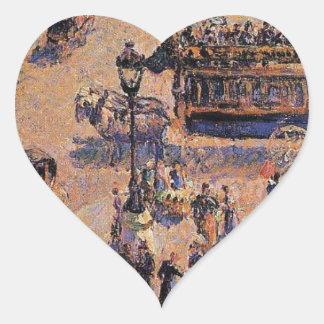 Coloque al santo Lazare de Camille Pissarro Pegatina En Forma De Corazón