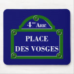 Coloque DES los Vosgos, placa de calle de París Tapete De Raton