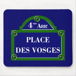 Coloque DES los Vosgos, placa de calle de París Alfombrilla De Ratón