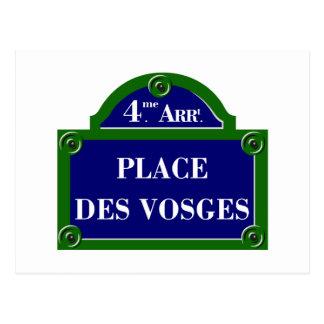 Coloque DES los Vosgos, placa de calle de París Tarjetas Postales