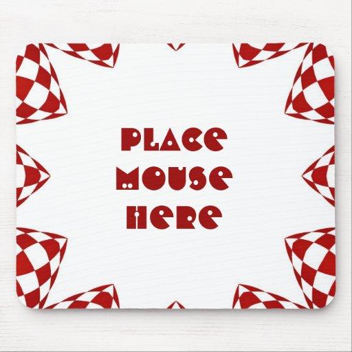 """""""Coloque el ratón aquí"""" en diseño rojo y blanco co Tapetes De Raton"""