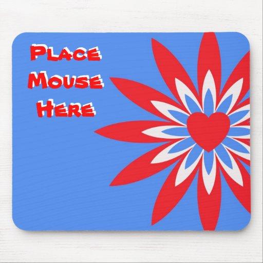 """""""Coloque el ratón aquí"""", rojo, flor azul blanca Tapetes De Ratones"""